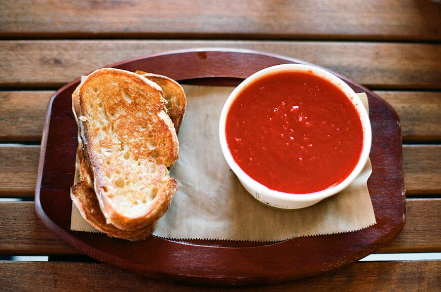 Tomato Grilled-Cheese Soup for Large Family