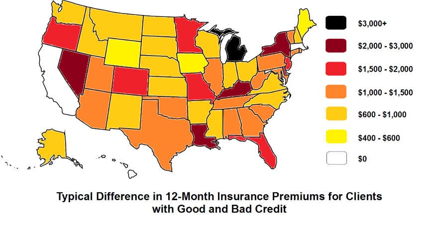 Typical Difference in 12-Month Insurance Premiums for Clients with Good and Bad Credit