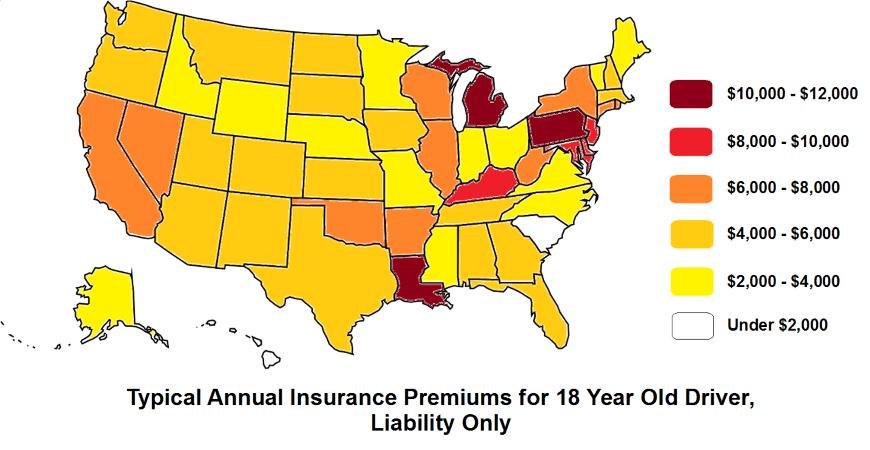 Typical Annual Insurance Premiums for 18 Year Old Driver