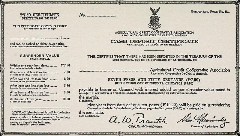 Cash Deposit Certificate
