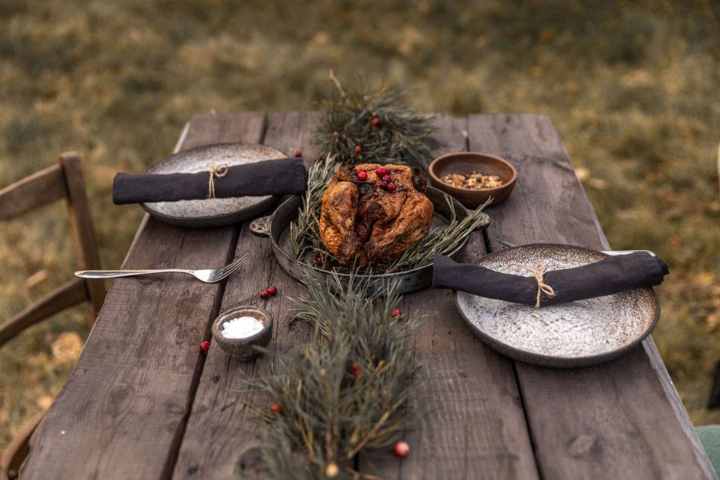 table set for thanksgiving dinner outside